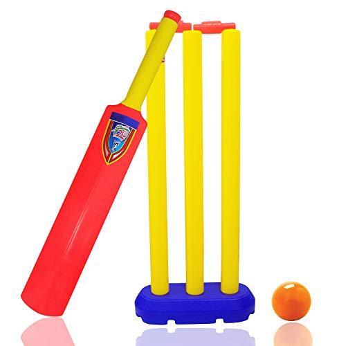 Majik Cricket Kit Set of Plastic 3 Stumps with Bail, 1 Bat and 1 Ball Combo Set for Kids (25 Grams, Multicolour)