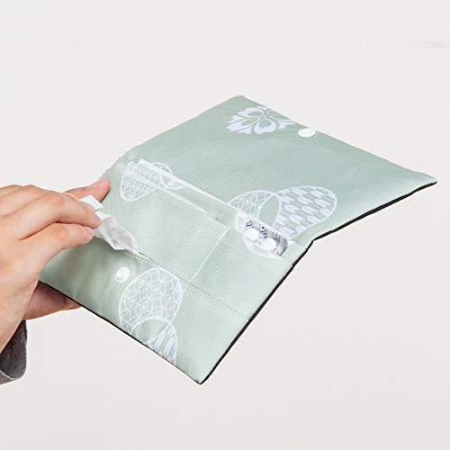 アストロマスクケース和モダン柄グリーン×ブラック携帯用二つ折りコンパクト613-33