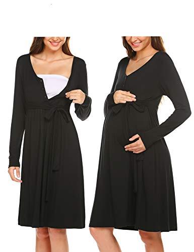 ADOME Frauen Pflege/Geburt/Krankenhaus Nachthemd Kurzarm Nachthemd Umstandsnachthemd mit Knopf Stillnachthemd für Schwangere und Stillzeit, A-schwarz, M