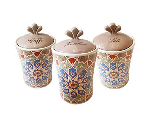 tris barattoli zucchero caffè sale stile maioliche marrakech in ceramica elegante e raffinato set porterà funzionalità e moda nella tua cucina mantenendo il contenuto fresco più a lungo
