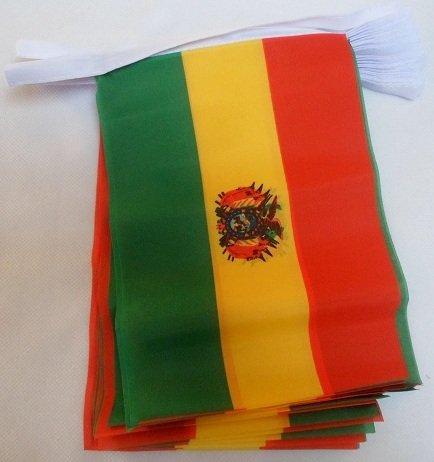 AZ FLAG FAHNENKETTE BOLIVIEN 6 Meter mit 20 flaggen 21x14cm - BOLIVIANISCHE Girlande Flaggenkette 14 x 21 cm