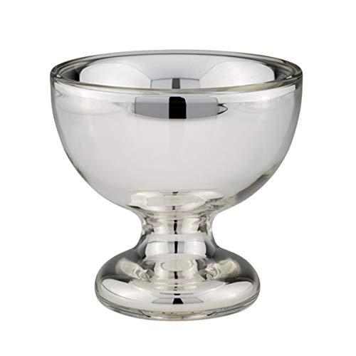 kleine runde Bauernsilber Deko Schale Ø 14 cm mit Fuß - mundgeblasenes Silberglas