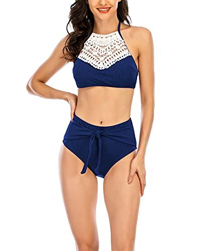 Traje de baño Tankini de cintura alta para mujer, traje de baño de dos piezas con cuello halter y control de barriga,Azul,L