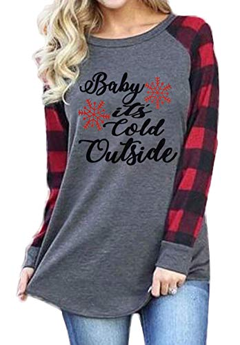Plus Size Baby It's Cold Outside Christmas T Shirt Women Long Sleeve Plaid Splicing Tops Blouse Size XXL (Gray)