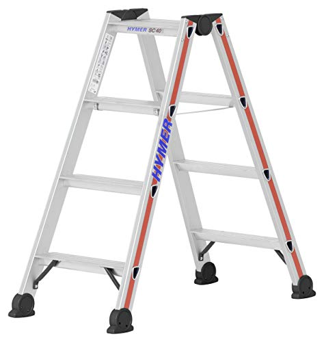 Hymer Stufenstehleiter 2x4 Stufen (Trittleiter beidseitig begehbar, eloxierte Holme, Stahl Scharniere) 402408