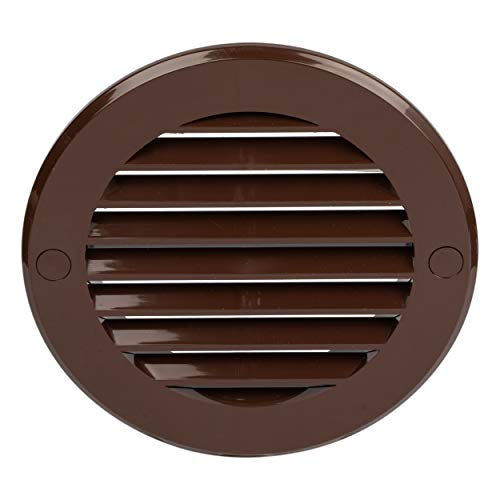 HVAC OV 4 Inch Round Air Vent ABS Louver Grille Cover Brown Soffit Vent