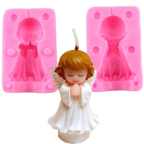 Lovelegis Molde de ángel de Silicona - bebé Rezando - favores - Bautizo - bebés - niños - bebés - Decoraciones - Dividido en Dos Partes - Molde de Uso Artesanal - Idea de Regalo de cumpleaños