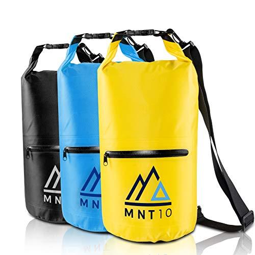 MNT10 Bolsa impermeable con correa de transporte, impermeable en 10 o 20 l, bolsa impermeable para viajes, exterior y camping, resistente y resistente (amarillo, 20 L)