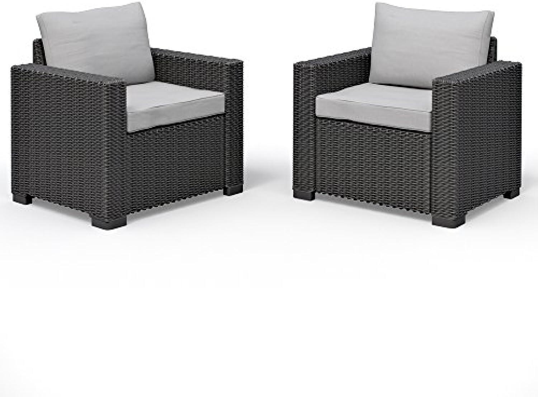 2er Set Allibert California Lounge Sessel Polyrattan Gartenmbel Rattanoptik graphit inkl. Auflagen