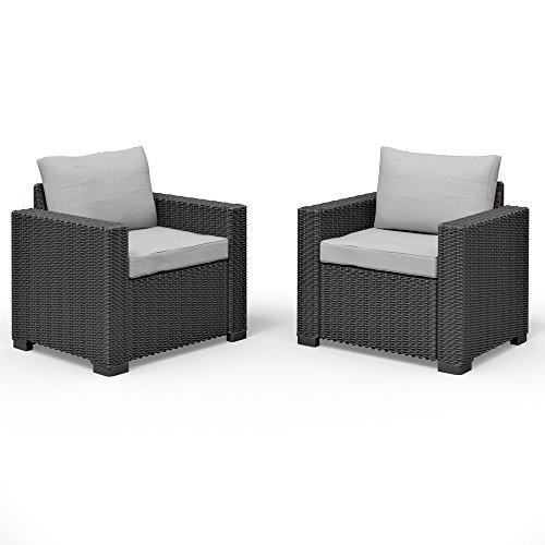 2er Set Allibert California Lounge Sessel Polyrattan Gartenmöbel Rattanoptik graphit inkl. Auflagen