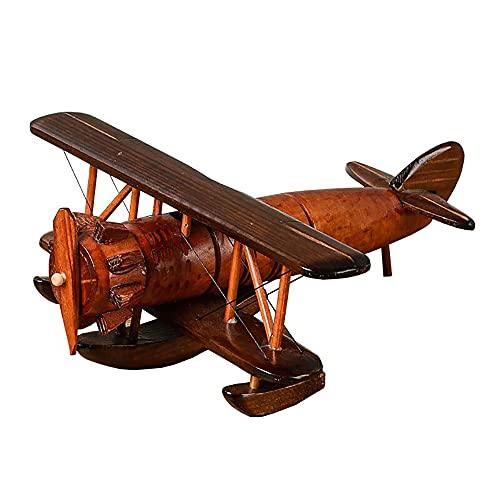 jadlahf Modelo De Avión De Madera Retro Hierro Planeador De Avión Retro Modelo De Avión Doble Juguete De Avión, Navidad, Decoración del Hogar, Decoración De Escritorio