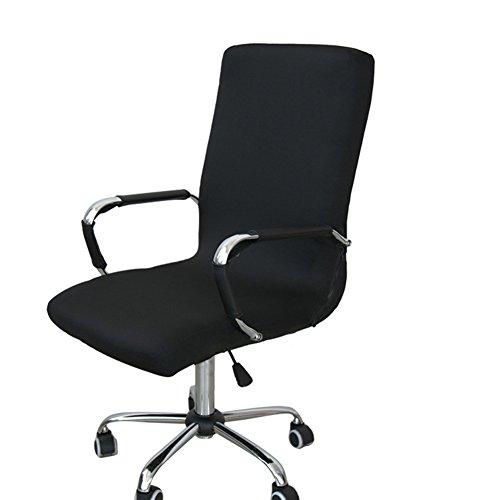 Gaeruite Stuhlhusse Bürostuhl Schreibtischstuhl Drehstuhl Bezüge ,Dehnbar Rotierenden Sessel Cover Schonbezug (M, Black)