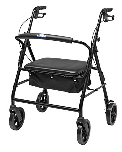 Lumex Walkabout Imperial Bariatric Rollator with Seat, Large Wheels & Curved Backbar, Black, RJ4405K