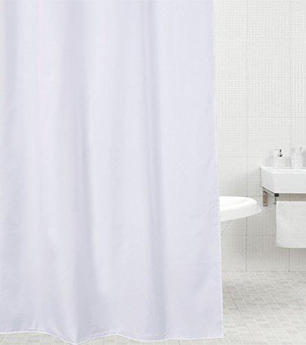 Sanilo Duschvorhang, viele einfarbige Duschvorhänge zur Auswahl, hochwertige Qualität, inkl. 12 Ringe, wasserdicht, Anti-Schimmel-Effekt (180 x 180 cm, Weiß)