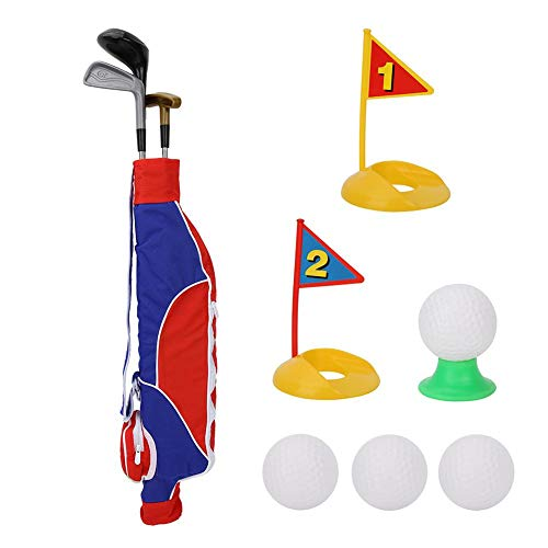 ASHATA Kids Golf Clubs Set, Kids Childrens Junior Golf Toy Set Clubs Ballen Garden Fun Outdoor, 2 Golf Clubs, 2 Practice Holes, 3 Golf Balls, Early Educational, Outdoors Exercise Toy for Kid