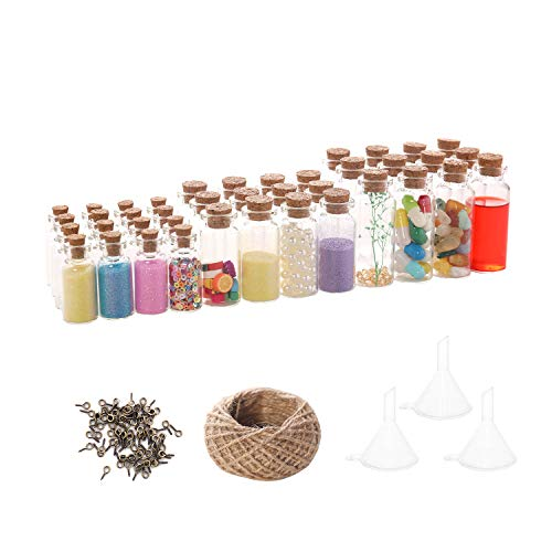 VOFUWS 48PCS Mini glass bottles with corks 24pcs 5ml and 12pcs 10ml and 12pcs 20ml(48pcs Eye Screws,30 Meters Twine and 3pcs Funnel )