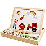 SKAJOWID Magnetische Puzzles Holz, Reißbrett Pädagogische Double Face Toy Lernspiele Für Kinder - Nutztiere Oder Waldtiere, Puzzle Board, Geeignet Für Kinder (75 Stück),B