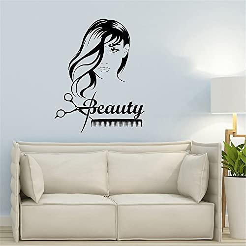 Belleza chica pelo largo tijeras peine peluquería pegatinas de pared vinilo extraíble pegatina interior en la pared arte de peluquería 49x85cm