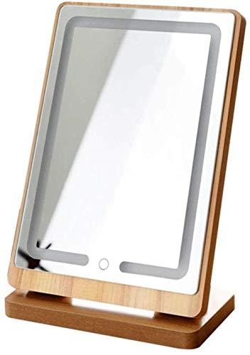 Maquillage Miroir de Bureau en Bois LED Lighted Coiffeuse Bureau Portable Rechargeable Fill Pliable lumière
