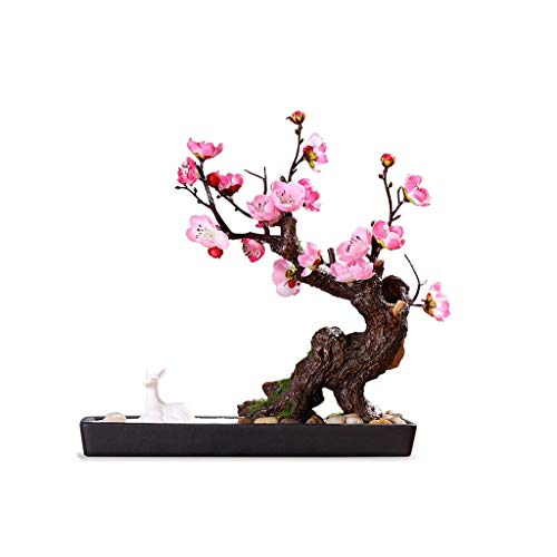 Hong Yi Fei-Shop Small Vase Simulation Pink Plum Bonsai Simulation Tree Outdoor Garden Home Decoration Chinese Simulation Tree Artificial Plant Potted Decorative Vase (Size : A)