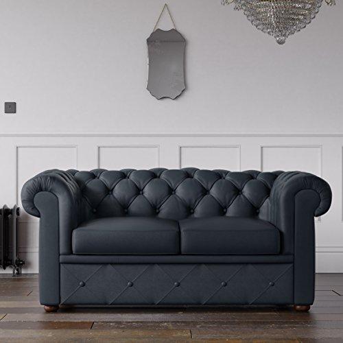 Desconocido Chesterfield sofá de piel sintética azul marino 2plazas