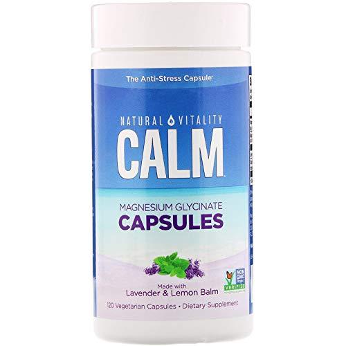 Natural Vitality Calm Capsules, Magnesium Glycinate Supplement with Lavender & Lemon Balm, Gluten Free, Non-GMO, 120 Count Vegan Capsules