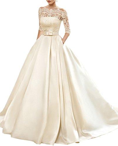 Vestido de novia escote barco – silueta tipo princesa y encaje