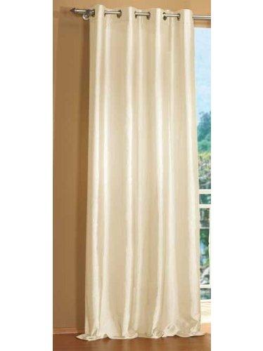 Gardinenbox Attraktiver Ösen Deko TAFT Vorhang, Blickdicht und lichtdurchlässig, viele Moderne Farben, 245x140, Creme, 20330