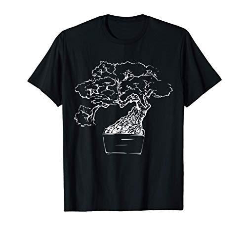 Japan Garden Art Gift Sketch Minimalist Japanese Bonsai Tree T-Shirt