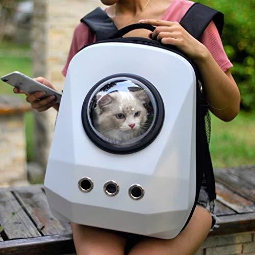 DWW Tragbarer Katzenträger-Rucksack, Raumkapsel-Blasen-Wasserdichte Handtasche, mehrfache Luftlöcher, Kätzchen-Welpen-Kragen-Haken, leichte Tasche für kleine Tiere (Farbe : Weiß)