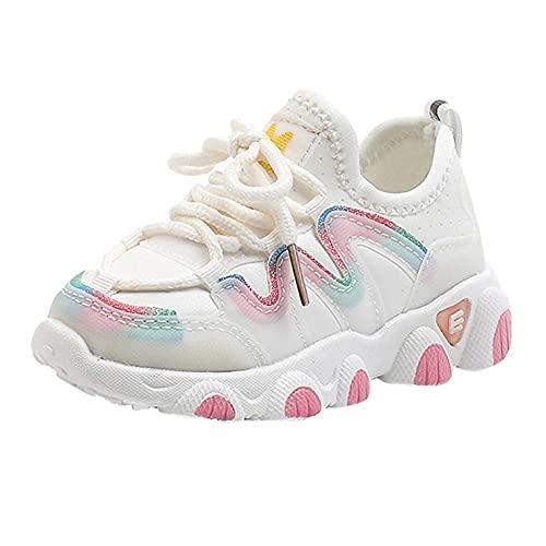 Zapatillas de deporte para niños, zapatillas de deporte para niños, unisex, con cordones, para exteriores, transpirables, antideslizantes, para el tiempo libre, beige, 22