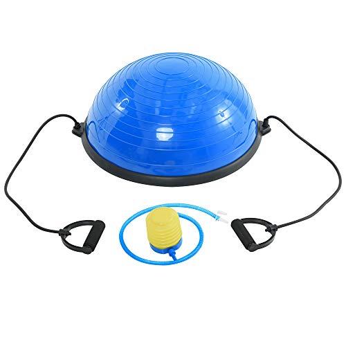 homcom Balance Ball con 2 Elastici e Pompa, Allenamento a Casa, Potenziamento Muscolare e Riabilitazione, 60x52x25cm Blu