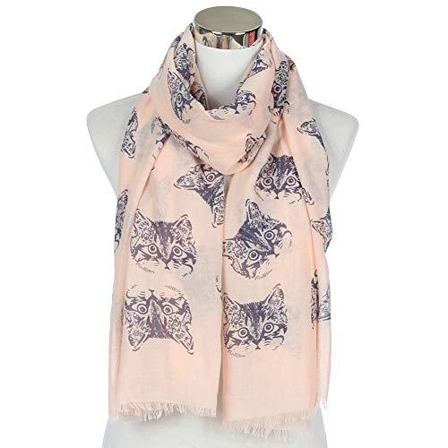 MYTJG Lady sjaal grijs blauw dames sjaal chiffon kattenprint sjaal sjaal turban wrap warm en comfortabel warm
