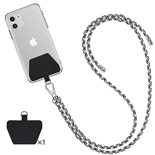 SHANSHUI Phone Lanyard, Universal Cell Phone Neck Strap with 1 Tether Tab for Phones Full Coverage Case(Blackwhite)