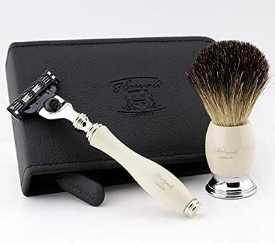 Men shaving shave kit badger hair shaving brush & 3 designer razor MENS CHRISTMAS XMAS GIFT WITH TRAVEL SHAVING CASE