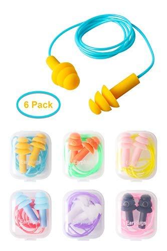 Tapones para oídos de silicona, paquete de 6 tapones para los oídos a prueba de agua de gel de silicona para nadar o dormir ✅