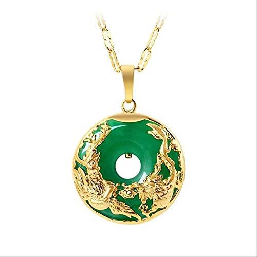 ZYLZL Colgante de jade, collar verde, tallado, amuleto de joyería de moda para hombres y mujeres