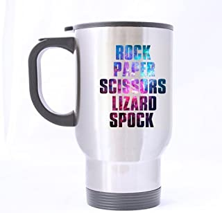 Top Funny Novelty Rock Paper Scissors Lizard Spock Theme - 100% Stainless Steel Material Travel Mugs - 14oz sizes