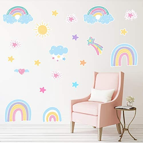 250 Pieces Rainbow Wall Decals Rainbow Sun Cloud Star Heart Wall Stickers for Bedroom Nursery product image