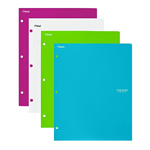 Five Star 2 Pocket Folders, Stay-Put Folders, Plastic, Folders with Pockets, Assorted Colors, 4 Pack (38060)