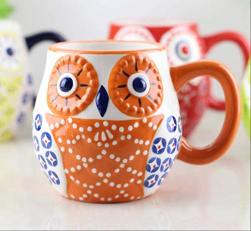HYOUH Taza de café Taza de Cacao Kawaii Cartoon Owl Tazas de café Tazas de cerámica Taza de Leche Taza de té Termo Botella de Agua Handpaint Desayuno Drinkware Kids Gifts 101-200ml A