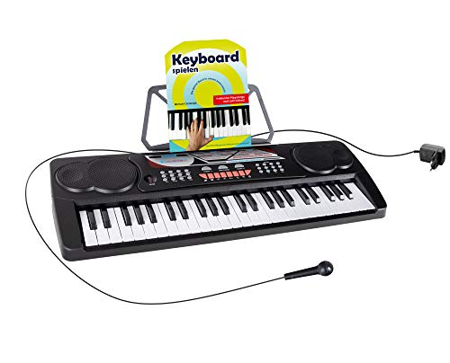 McGrey BK-4910BK Keyboard - Kinder Keyboard mit 49 Tasten - Einsteigerkeyboard mit 16 Sounds und 10 Rhythmen - Piano mit Lernfunktion, Mikrofon für Gesang und Notenständer - Mit Schule - Schwarz