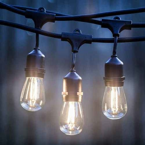 AQL AQLighting LED Commercial Grade Waterproof Outdoor String Lights with Hanging Sockets – Dimmable 1.5-Watt Bulbs 24-24 Ft Cafe LED Edison Style Filament Bulb, Weatherproof, 18ga Cable