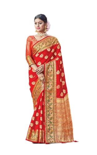 Readymade Blusa sari para mujer india tradicional de seda pesada con blusa a juego (con blusa cosida), Rojo/Rojo, Large