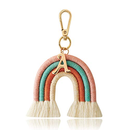 Asdf586io Cute and Charm Keychains, Keychain Exquisite Rainbow Shape Alloy Cotton Rope Nordic Style Key Ring for Bag Wallet Decor, Girls Gift- Pink
