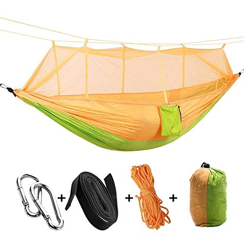 WXQHYD Portable High Strength Parachute Fabric Camping Hammock Hanging Bed With Mosquito Net Sleeping Hammock