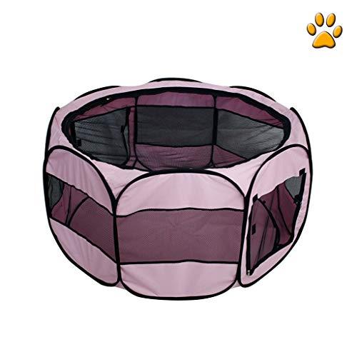 Zusammenklappbarer Katzen- und Hundelaufstall für tragbare Haustierzelte, Haustier-Kreißsaal, Farbe optional (Color : Pink, Size : L)