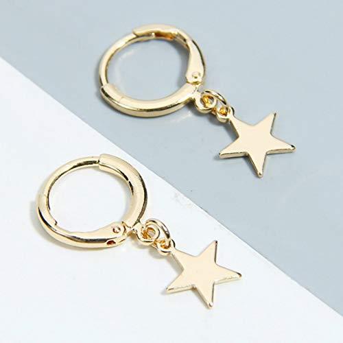 LCUK Nuevos Pendientes de Estrella de Cinco Puntas a la Moda, Pendientes de Estrellas Doradas deAcero Inoxidable más vendidos, joyería al por Mayor para Mujer