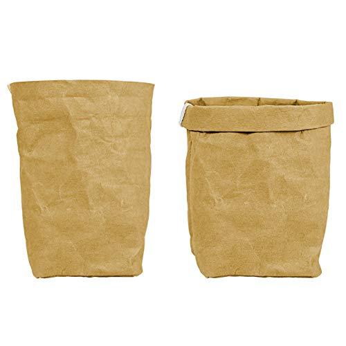 AZYJBF 2 Stück Papier Blumentopf Kraftpapier Beutel Topf Unzerbrechlich Wiederverwendbar für Pflanzen Blumen, Wiederverwendbare Einkaufstaschen für Lebensmittel, Gemüse