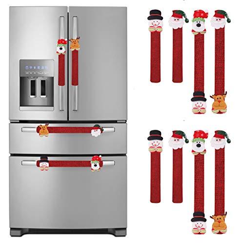 LimBridge Christmas Refrigerator Door Handle Cover, Set of 8 3D Fleece Cover for Double Door Fridge, Kitchen Microwave Dishwasher Handle Decorations, Red